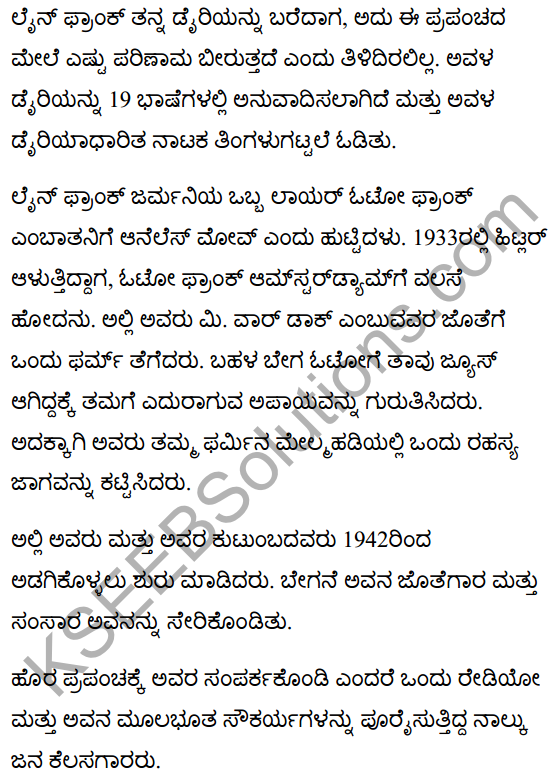 The Girl who was Anne Frank Summary in Kannada 1