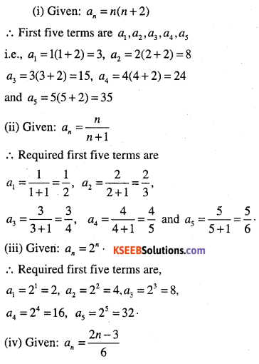 1st PUC Maths Question Bank Chapter 9 Sequences and Series 1