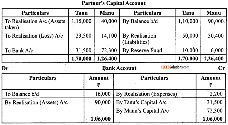 2nd PUC Accountancy Question Bank Chapter 5 Dissolution of Partnership Firm - 49
