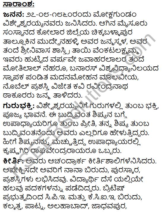 Sir M. Visvesvaraya Summary in Kannada 1
