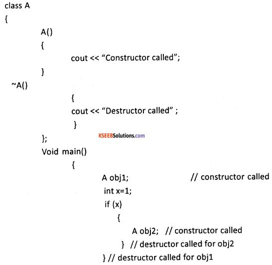2nd PUC Computer Science Question Bank Chapter 9 Constructors and Destructors 11