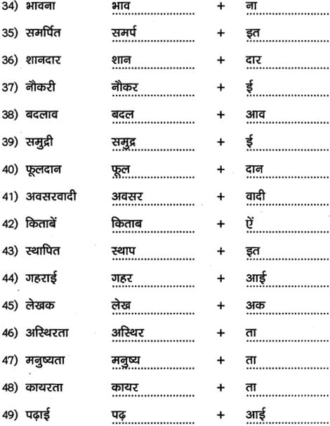 2nd PUC Hindi Workbook Answers व्याकरण प्रत्यय 5