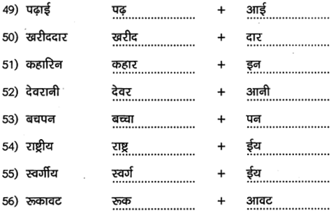 2nd PUC Hindi Workbook Answers व्याकरण प्रत्यय 6
